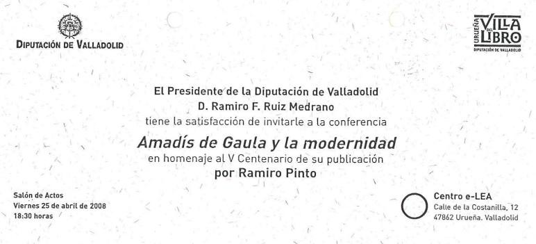 Invitación conferencia Amadís de Gaula