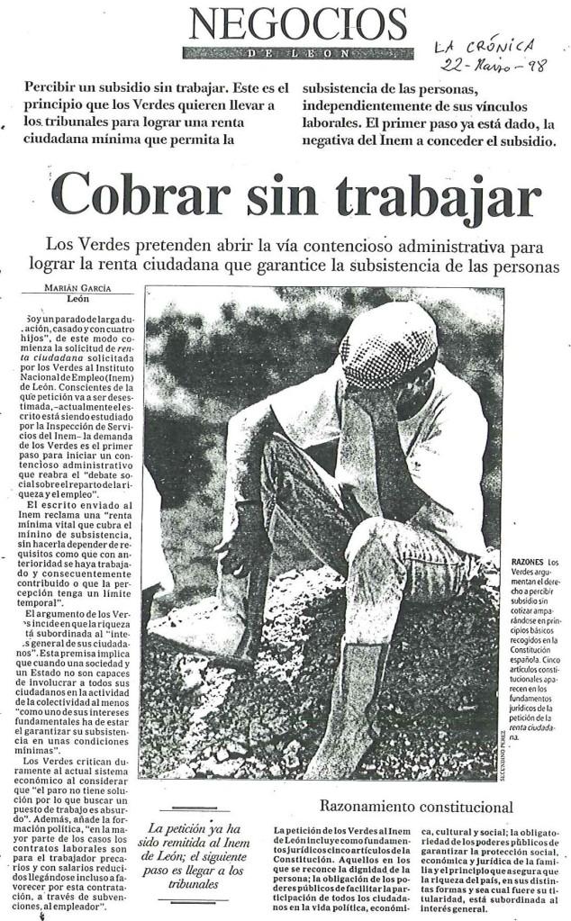 Noticia La Crónica de León: Cobrar sin trabajar