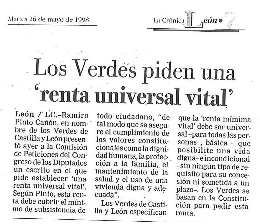 Noticia Los Verdes piden una renta universal vital