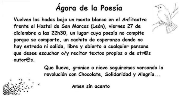 El cartel característico del Ágora de la poesía. Por Sandra Sánchez.