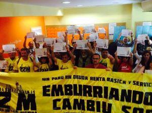 La columna asturiana de las marchas de la dignidad hacienda actos de apoyo en las oficinas del INEM