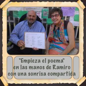 Asunción Carrecedo, con un poema que me dedicó y leyó en el Ágora de la Poesía.