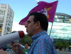 El coordinacdor esttal de ls marchas del 22M, en su intervención ante el Ministerio de Empleo.