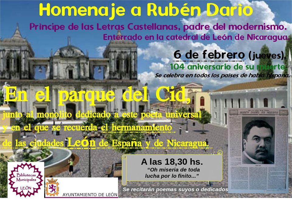 Cartel homenaje Rubén Darío - León 2020