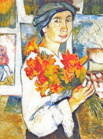 natalia-goncharova-a-self-portrait-with-water-lillies-1907